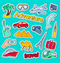 Time to travel adventure doodle stickers badges vector