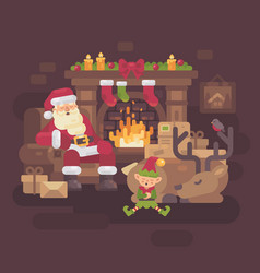 tired santa claus with his reindeer and elf vector image