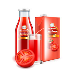 tomato juice in glass bottle and packaging 3d vector image