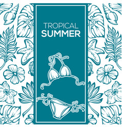 tropical summer background leaves flowers vector image