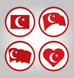 Turkey republic day set flag in heart waving vector