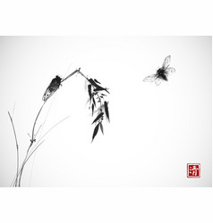 two cicadas and bamboo branch traditional vector image