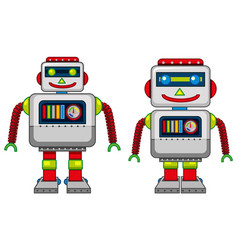 Two robots with happy face vector