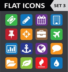 Universal Colorful Flat Icons Set 3 vector image