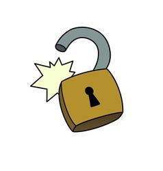 Unlocked padlock vector image