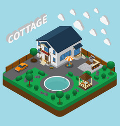 vacation home isometric composition vector image