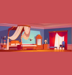 victorian bedroom royal interior at morning vector image