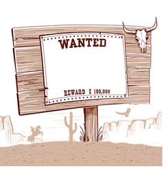 Wanted paper on wood board for textwestern vector