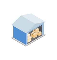 Warehouse with open door icon isometric 3d style vector