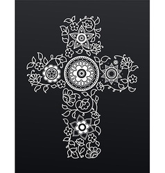 White floral Christianity cross on black vector image