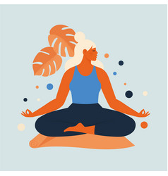 Woman meditating in nature and leaves concept vector