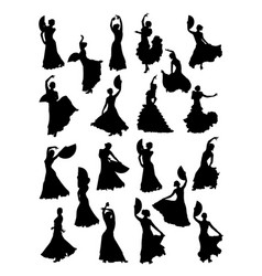 Women dancing flamenco silhouette vector
