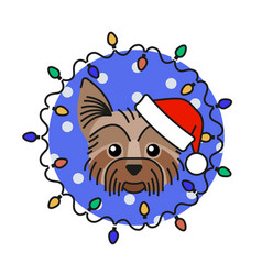 Yorkshire terrier dog in santa claus hat vector