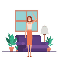 young woman in living room avatar character vector image