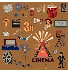 Colored hand drawn cinema icon set vector image vector image