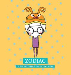 cute set zodiac - symbols of chinese hor vector image vector image