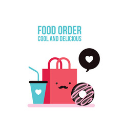 delicious donut coffee and shopping bag cute foo vector image vector image