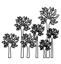 figure trees with stem in form hand icon vector image