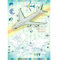 Infographic Set Elements with Airplane vector image vector image