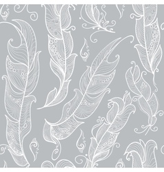 seamless pattern with white outline feathers vector image vector image