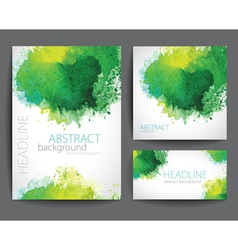 Set of Banners with Green Watercolor Splash vector image vector image