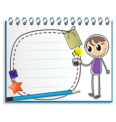 A notebook with a drawing of a boy holding a cup vector image vector image