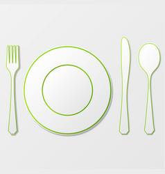 cutlery shadow silhouettes vector image vector image