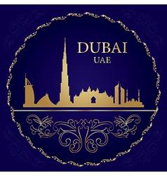 Dubai skyline silhouette on vintage background vector image vector image