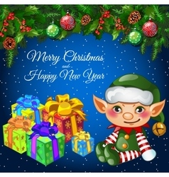 Holiday card with Christmas decor elf and gifts vector image