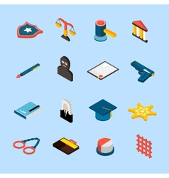 Law Icons Isometric vector image vector image