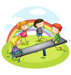 Many children playing seesaw in park vector image vector image