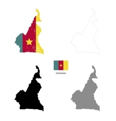 Cameroon country black silhouette and with flag on vector image vector image