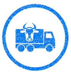 Cow transportation rounded grainy icon vector