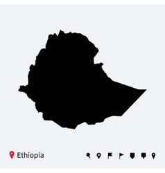 High detailed map of ethiopia with navigation pins vector