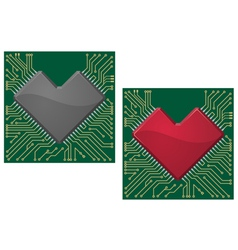 Motherboard heart vector image
