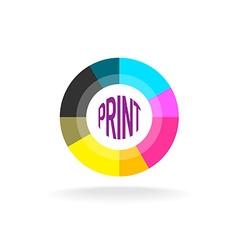 Print shop round logo template vector image