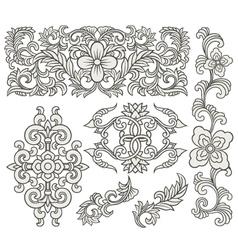 scroll element set vector image vector image