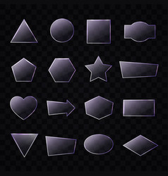 set of transparent glass plates of different shape vector image