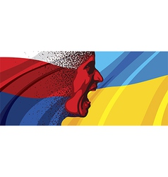 Angry face of russia to ukraine vector