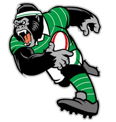 rugby gorilla mascot vector image