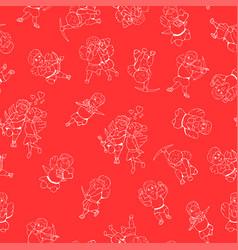 seamless happy valentine day pattern hand drawn vector image