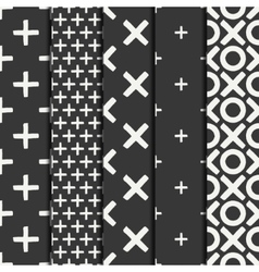 Set of hand drawn geometric seamless ink pattern vector image