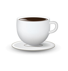 white cup with saucer on white background vector image