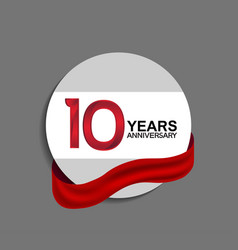 10 years anniversary design in circle red ribbon vector