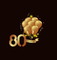 80 year anniversary gold balloon template design vector