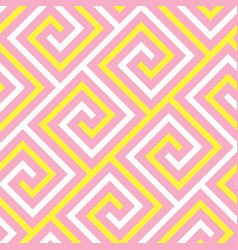 abstract pink and yellow meander seamless pattern vector image