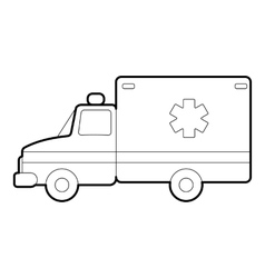 Ambulance icon outline style vector