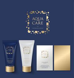 Aqua care logo spa emblem mineral natural cosmetic vector