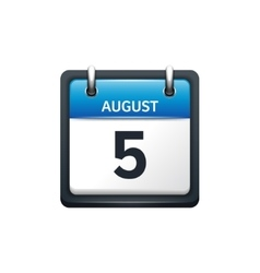 August 5 Calendar icon flat vector image