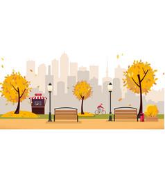 aumumn leaf fall park public park in city vector image